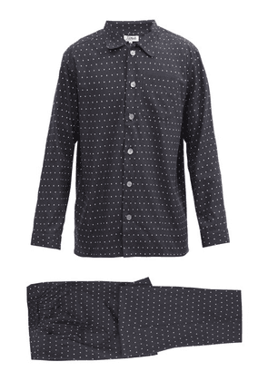 P. Le Moult - Droplet-print Cotton-herringbone Pyjamas - Mens - Black
