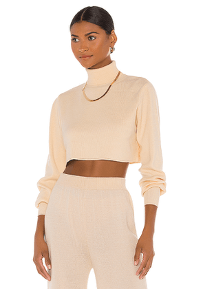 Callahan X REVOLVE Cropped Turtleneck in Cream. Size XS,M.