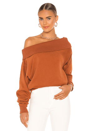 Marissa Webb So Relaxed Off The Shoulder Plush Sweatshirt in Burnt Orange. Size S.
