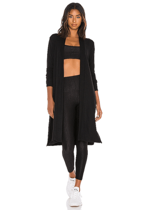 Beyond Yoga High Slits Long Duster in Black. Size S,M,L.