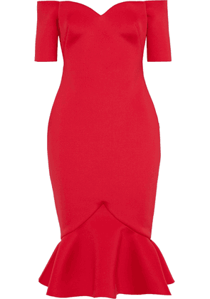 Badgley Mischka Off-the-shoulder Fluted Scuba Dress Woman Tomato red Size 6