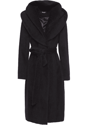 Dkny Belted Brushed Wool-blend Hooded Coat Woman Black Size 10
