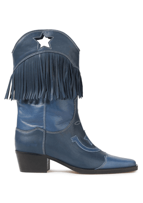 Ganni Cutout Fringed Leather Boots Woman Blue Size 41