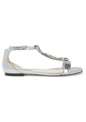 Jimmy Choo Averie Crystal-embellished Mirrored-leather Sandals Woman Silver Size 39