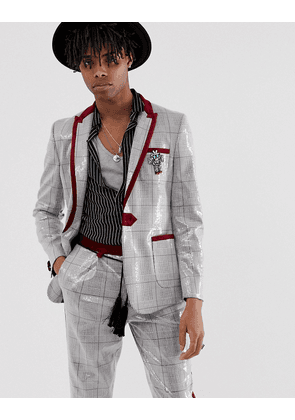 ASOS EDITION skinny suit jacket in grey sequin check with removable robot badge-Brown