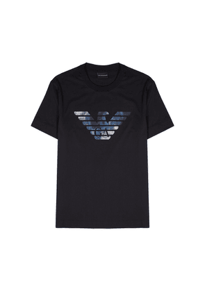 Emporio Armani Navy Logo-embroidered Cotton T-shirt