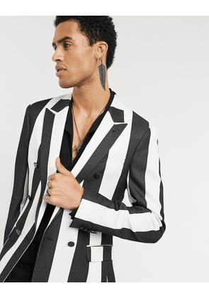 ASOS DESIGN skinny double breasted stripe blazer with black buttons-White