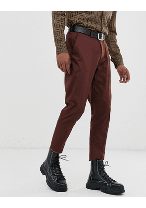 ASOS DESIGN wedding skinny cotton suit trousers in burgundy-Red