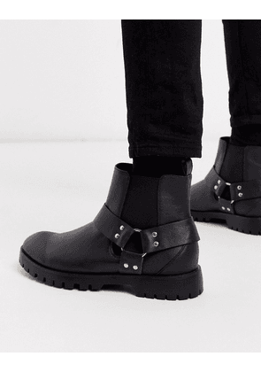Truffle Collection chelsea boot with cross over straps-Black