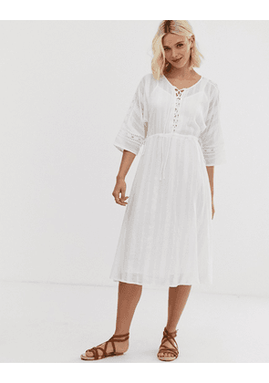 ASOS DESIGN lace insert midi dress with lace up front-White
