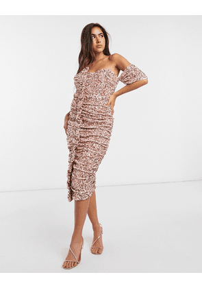 ASOS DESIGN off shoulder ruffle sequin midi dress in pink-Silver