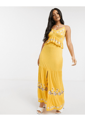 ASOS DESIGN cami button front maxi dress with embroidery in yellow
