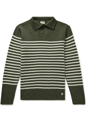 Armor Lux - Logo-Appliquéd Striped Wool Half-Zip Sweater - Men - Green