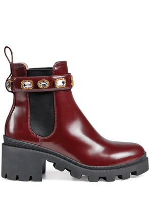 Gucci crystal-embellished ankle boots - Red