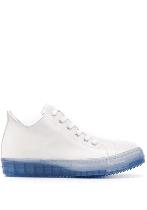 Rick Owens high top transparent sole sneakers - White