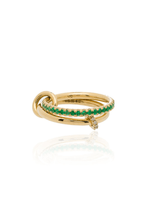 Spinelli Kilcollin 18K yellow gold emerald diamond link ring
