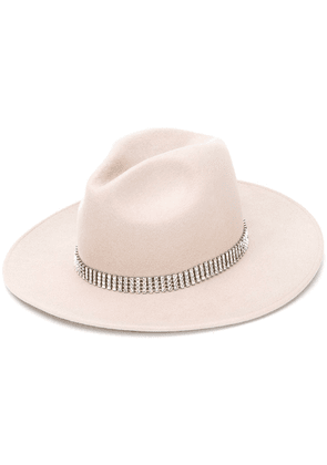 Kate Cate crystal strap hat - Neutrals