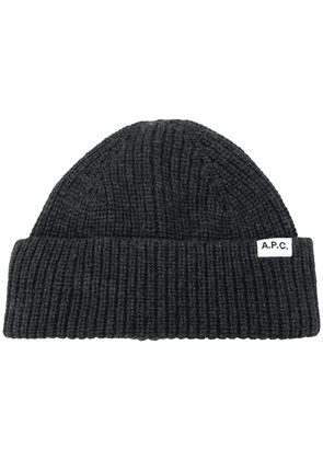 A.P.C. ribbed knit hat - Grey