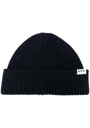 A.P.C. ribbed-knit beanie hat - Blue