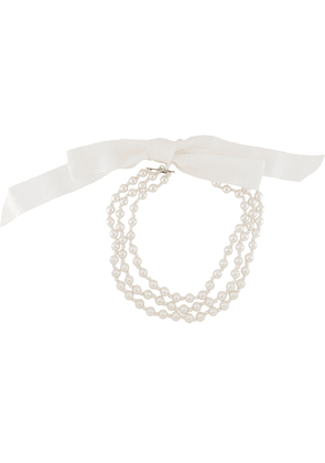 Moschino bow-embellished pearl necklace - Neutrals