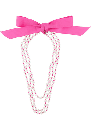 Moschino bow-embellished long pearl necklace - PINK