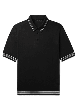 Dolce & Gabbana - Striped Silk Polo Shirt - Men - Black