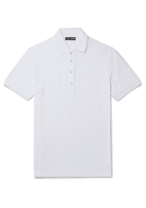 Dolce & Gabbana - Logo-Embroidered Cotton-Blend Piqué Polo Shirt - Men - White