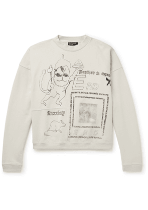 Enfants Riches Déprimés - Panelled Printed Loopback Cotton-Jersey Sweatshirt - Men - Neutrals
