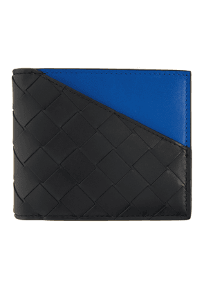 Bottega Veneta Black and Blue Bifold Wallet