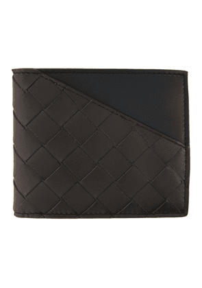 Bottega Veneta Black and Brown Intrecciato Billfold Wallet