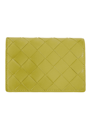 Bottega Veneta Green Intrecciato Small Flap Card Holder