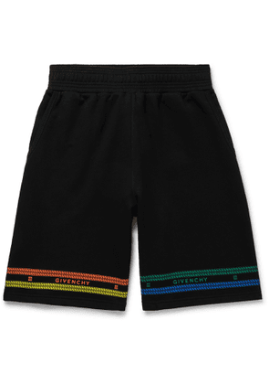 Givenchy - Wide-Leg Logo-Print Loopback Cotton-Jersey Shorts - Men - Multi