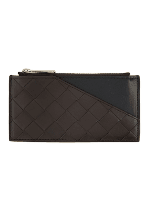 Bottega Veneta Brown and Black Intrecciato Zip Card Case