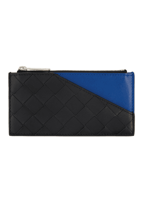 Bottega Veneta Black and Blue Intrecciato Zip Card Holder