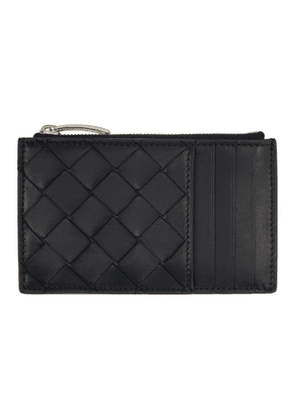 Bottega Veneta Black Intrecciato Zipper Card Holder