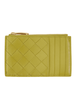 Bottega Veneta Green Intrecciato Zipper Card Holder