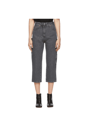 MM6 Maison Margiela Black Cropped Utilitarian Jeans