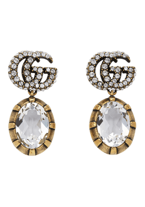 Gucci Silver Crystal Double G Earrings