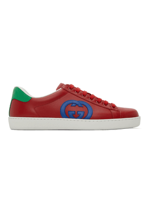Gucci Red GG Ace Low-Top Sneakers