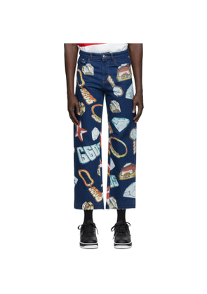 GCDS Blue Denim Jewel Jeans