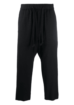 Ziggy Chen drawstring cropped trousers - Black