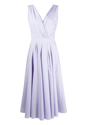 Alexander McQueen drape-detailing V-neck midi dress - PURPLE