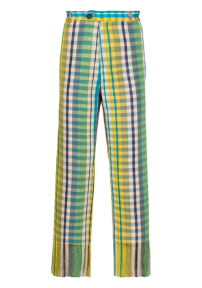 Kenneth Ize Josh check-pattern fringe-hem trousers - Yellow