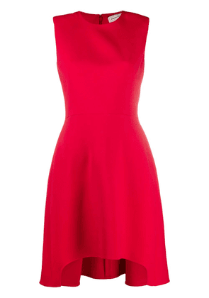 Alexander McQueen silk shoulder-pad dress - Red