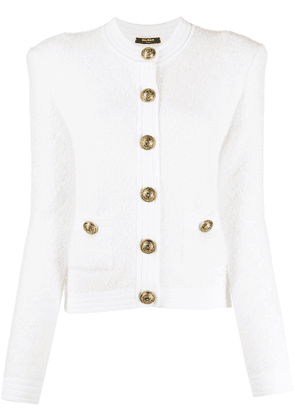 Balmain single-breasted knitted cardigan - White
