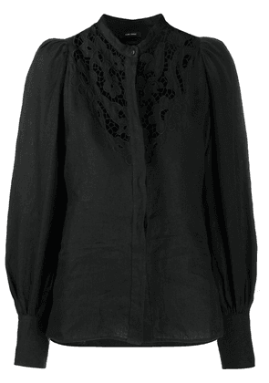 Isabel Marant embroidered collarless blouse - Black