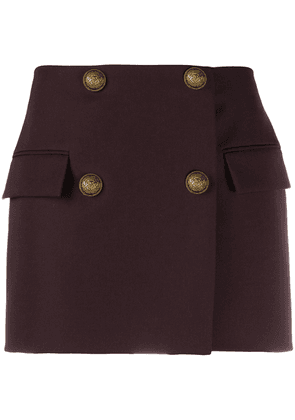 Balmain double-breasted wool mini-skirt - Brown