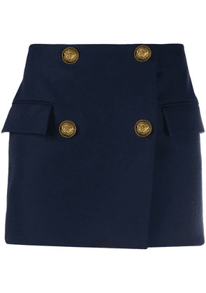 Balmain double-breasted wool mini-skirt - Blue