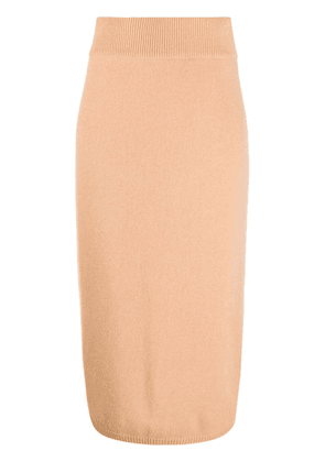 N.Peal exposed seam cashmere skirt - Brown