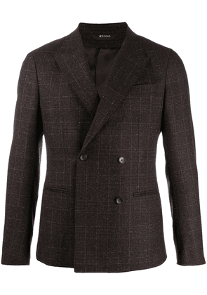 Z Zegna check double-breasted blazer - Brown